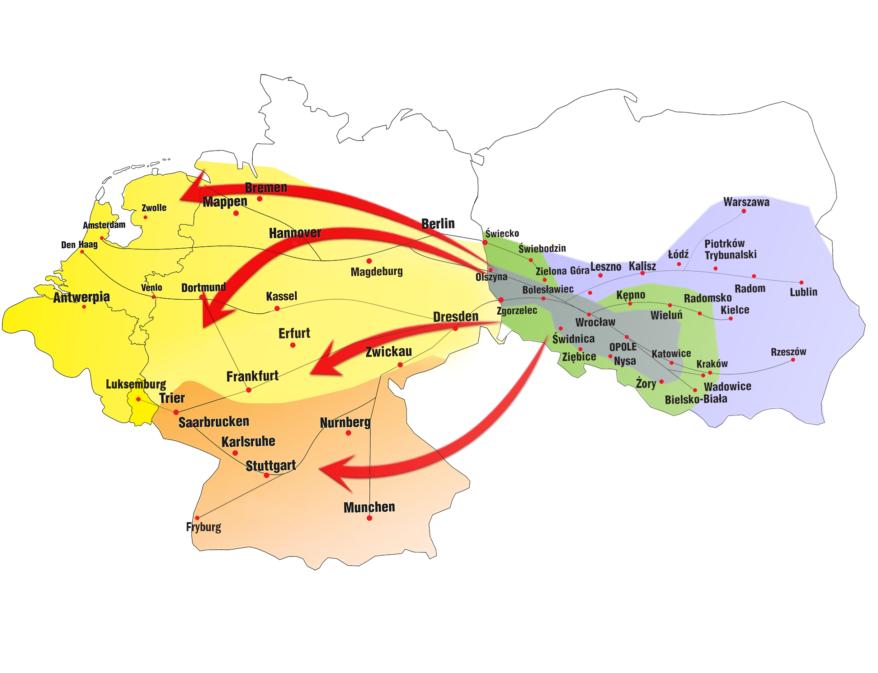 Polski Bus mapa połączeń MilekTrans